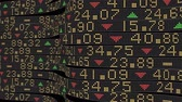 финансы : 3D Stock Market Tickers sliding on a curved path at various speeds