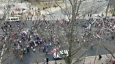 donald trump : WASHINGTON DC - JANUARY 21, 2017: High angle view of the Womens March protesters on the Constitution Avenue, from the Museum of Modern Art terrace.