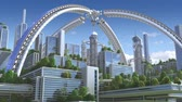 3D Animation of a futuristic green city with an arched structure and high rise buildings with terraces covered in vegetation, for environmental architecture backgrounds.