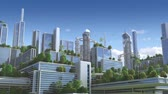 3D Animation of a futuristic green city with high rise buildings and terraces covered in vegetation, for environmental architecture backgrounds. Vídeos