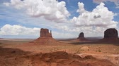 Monument Valley panorama from the Navajo Nation Tribal Park, on the Arizona-Utah border, USA Stok Video