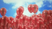 blue sky : Red ballons in the sky - loopable CG animation Stock Footage