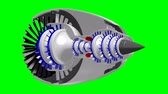 turbofan : 3D plane jet engine - on green background Stock Footage
