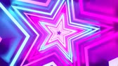 discotheque : 3D 4k abstract tunnel neon animation - rotating stars Stock Footage