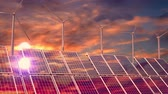zonnepaneel : Solar panels, wind turbines, sunset sky - 3D 4k animation Stockvideo