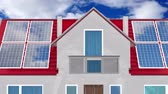 coletor : House with solar panels installed on a roof - 3D 4k animation