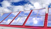 coletor : Solar panels installed on a roof, wind turbines - 3D 4k animation