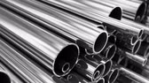 fornecimento : Close up on stack of steel pipes. Loopable animation.