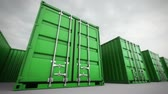 exportação : Picture of green containers in the row. Stock Footage