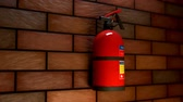 silindir : 01594 Extinguisher On The Brick Wall during fire with smoke. Safety alarm emergency