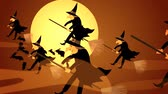 süpürge : 01611 Halloween Witches Flying On A Broomsticks Against A Full Moon At Night
