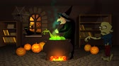 süpürge : 01618 Witch Preparing A Potion In Cauldron With Halloween Pumpkins In Spooky House