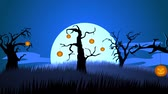 creepy : 01629 A Creepy Graveyard Halloween Background Scene With Graves, Evil Pumpkins on Trees, And Spooky Moonlit Sky