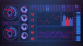 virtuell : 02034 Futuristic Graphic User Interface Schwank Graph-Verhältnis Stock Footage