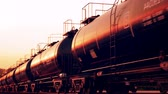 produtos químicos : Transportation tank cars with oil during sunset. CG Animation.
