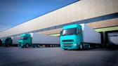 3d animation of unloading cargo from truck to warehouse. Wideo
