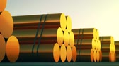 berendezés : Loopable animation presents stacks of cylindrical copper billets. In background cloudless dawn sky. Stock mozgókép