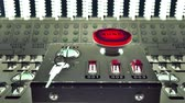 razzia : Animation of large red button marked - Launch - on a control console with three small electric switches designated by numbers Stock mozgókép