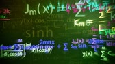 Animation of a chalkboard with colorful maths formulas with motion blur effect. Symbol of mathematical education