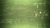 soma : Animation presents handwritten mathematical formulas on green background flying through the camera. Vídeos