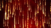 Abstract animation of fire rain. Volcano eruption. Shining particles on red background.