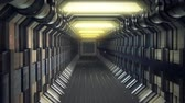 chodba : Long straight empty enclosed corridor with no windows or doors receding into the distance illuminated by overhead lights in a industrial building or spacecraft Dostupné videozáznamy