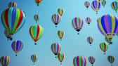gorąco : Multicolored Hot Air Balloons Flying In Blue Sky
