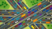 dálnice : Animation looking straight down over three busy highways crossing each other.