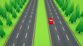 dálnice : High angle view following a lone red car as it travels down an emply six lane highway. Dostupné videozáznamy