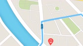 Color animation of blue car as it follows a route generated by GPS along city streets. Wideo