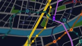 Elevated View Of Car Moving Forward On Gps Navigator with colorful city metro scheme. Night view.