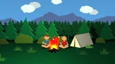 fragility : Campfire Kids Roasting Sticks With Marshmallows In Front Of The Tent. Stock Footage