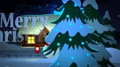 vállkendő : Merry Christmas Word In Front Of Decorative House And Snowman At Night