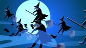 süpürge : Halloween Witches Flying On A Broomsticks Against A Full Moon At Night