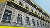 Scaffold In Front Of Building At Construction Site Wideo