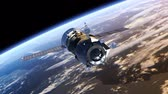 kosmos : Space Station deploys solar panels. 3D Animation. Wideo