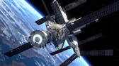 business : Space Shuttle And Space Station Orbiting Earth. 3D Animation. Stock Footage