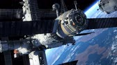 kosmos : Spacecraft quotSoyuzquot Docking To Space Station. 3D Animation. Wideo
