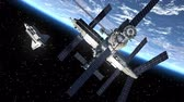 russo : Space Station And Space Shuttle Orbiting Earth Stock Footage