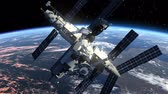 shuttle : Space Station Orbiting Earth. 3D Animation.