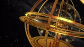 весы : Armillary Sphere And Zodiac Signs. Black Background. 3D Animation.