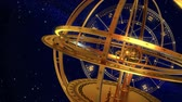 kova : Armillary Sphere And Zodiac Signs. Blue Background. 3D Animation. Stok Video