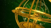 весы : Armillary Sphere And Zodiac Signs. Green Background. 3D Animation. Стоковые видеозаписи