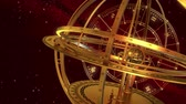 kova : Armillary Sphere And Zodiac Signs. Red Background. 3D Animation.