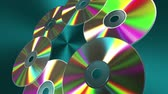 romênia : Rotating CD-DVD Discs Over Blue Background. 3D Animation.