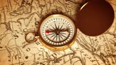 cartography : Golden Compass On The Map Indicating Direction. 3D Animation.