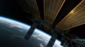 modul : Flight Of International Space Station In The Rays Of Sun. 3D Animation. Stock mozgókép