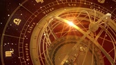 halak : Zodiac Signs and Armillary Sphere On Red Background. Seamless Looped. 3D Animation.