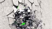 ハング : Metallic Wrecking Ball Shattering The White Wall. Green Screen. 3D Animation. 動画素材