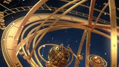 halak : Armillary Sphere And Zodiac Signs On Blue Background. 3D Animation.